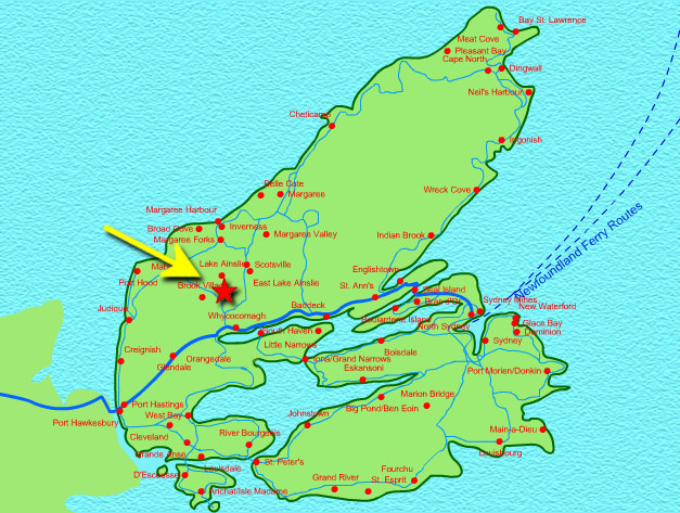 cape breton map locator for e skye glen dairy farm